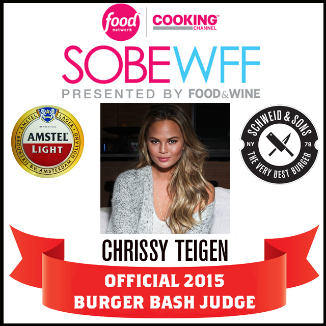 chrissy-teigen-judge-announcement-sobewff-burger-bash-2015-schweid-and-sons2